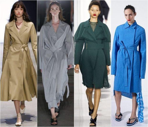 модная весна 2019: плащи коричневый серый зеленый синий с поясом без пуговиц