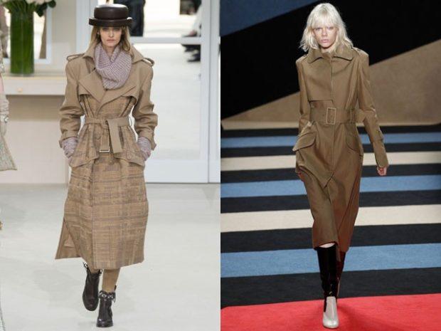 модная весна 2019: коричневые плащи с поясом миди
