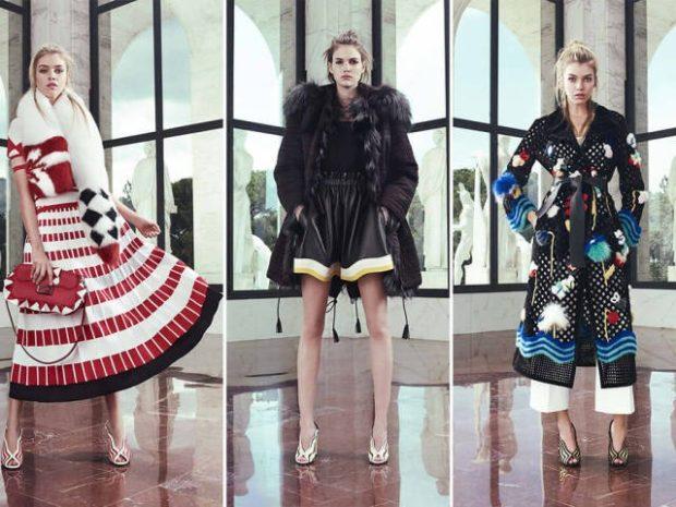 модная зима 2019-2020: платье красное-белое куртка с мехом плащ
