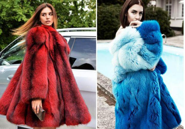 модная зима 2019-2020: цветные шубы красная синяя