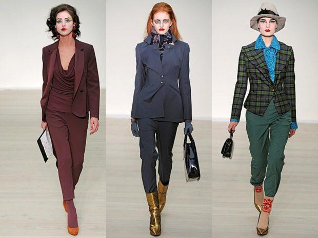 модная зима 2019-2020: бордовый синий зеленый брючные костюмы