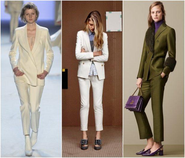 модная зима 2019-2020: брючный костюм белый бежевый зеленый