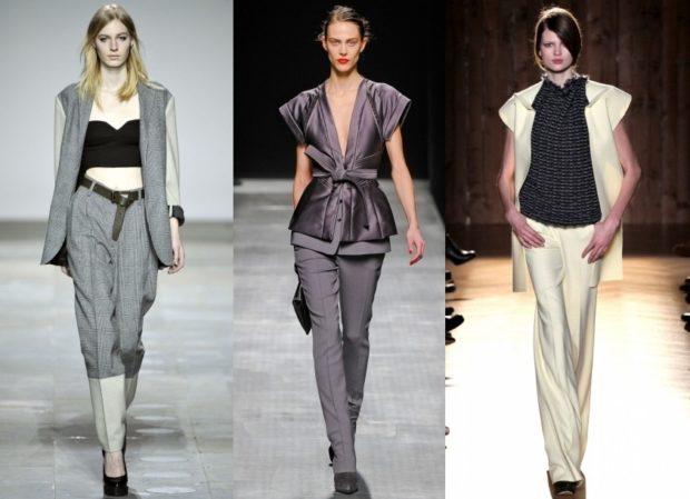 модная зима 2019-2020: костюмы серые брючные