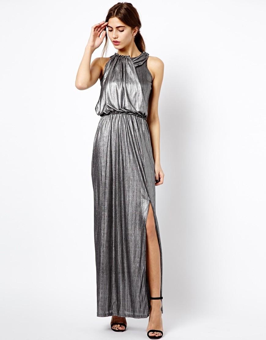 модная зима 2019-2020: платье серебро длинное с разрезом