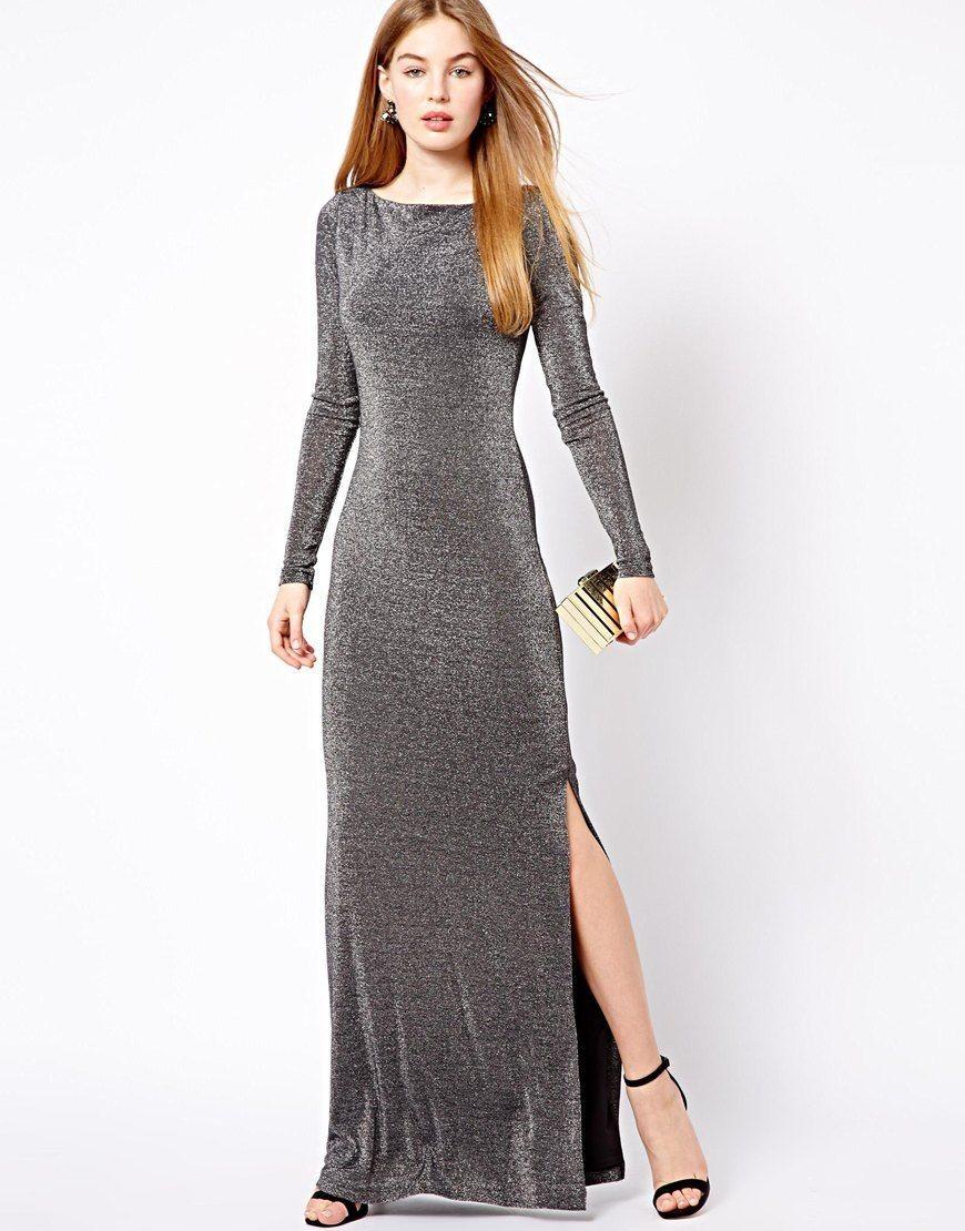 модная зима 2019-2020 платье серебристое в пол с рукавом