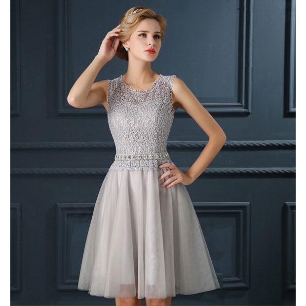 модная зима 2019-2020: платье серебро короткое юбка фатин