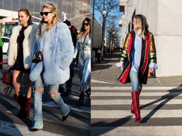 модная зима 2019-2020: шубка синяя пальто абстракция
