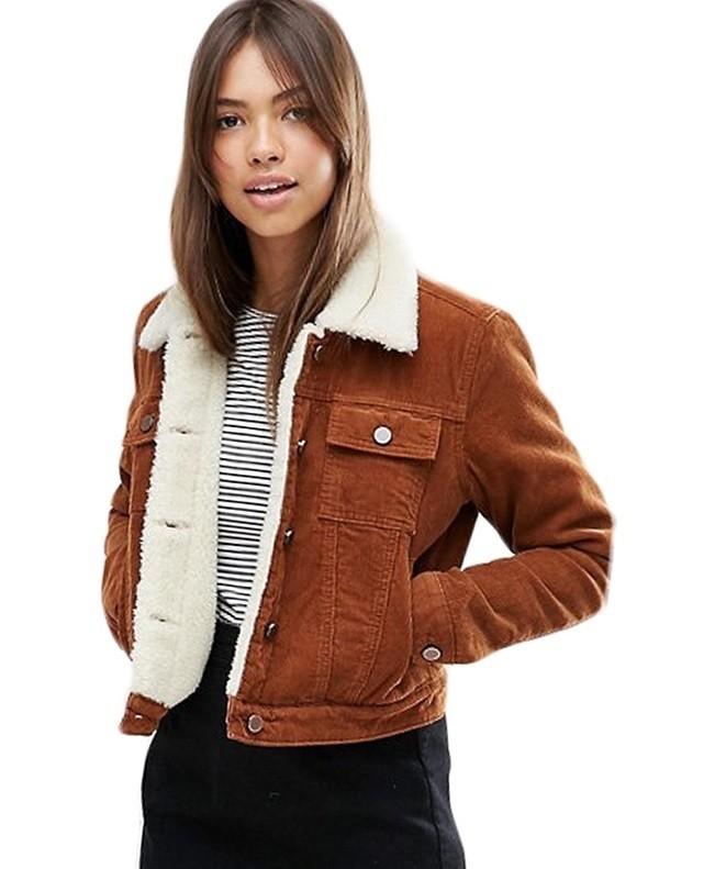 модная зима 2019-2020: куртка коричневая вельвет короткая с мехом