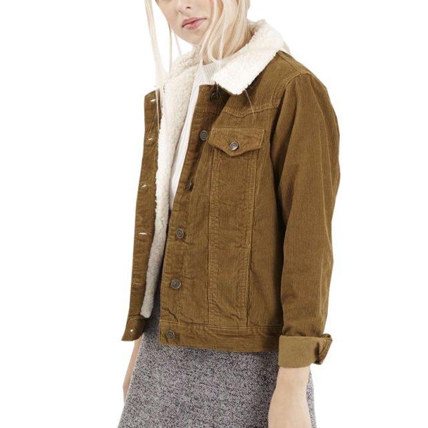 модная зима 2019-2020: вельветовая куртка короткая с мехом зеленая