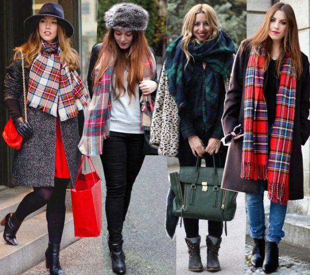 модная зима 2019-2020: шарфы в клетку