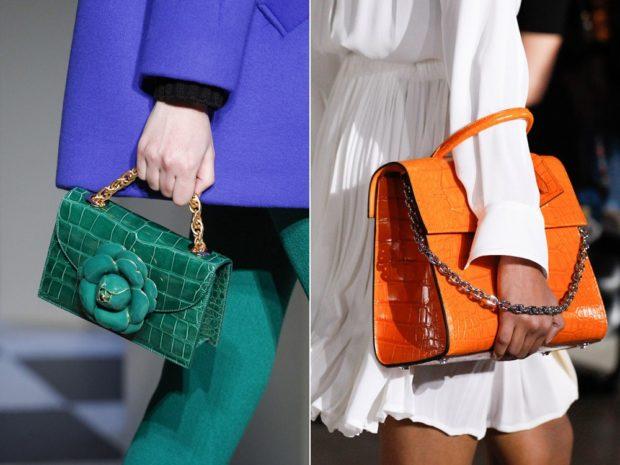 модная зима 2019-2020: сумки с короткими ручками зеленая оранжевая