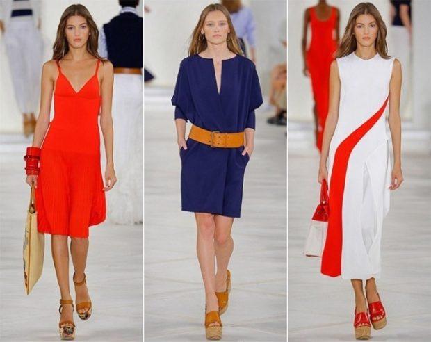 модные цвета лето 2019: красное платье синее платье белое платье с красным