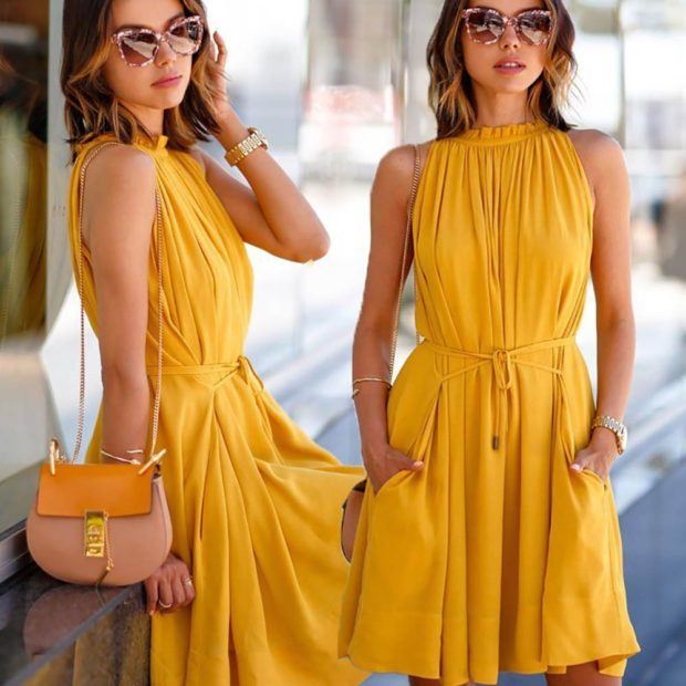 модные цвета лето 2019: платье горчичное