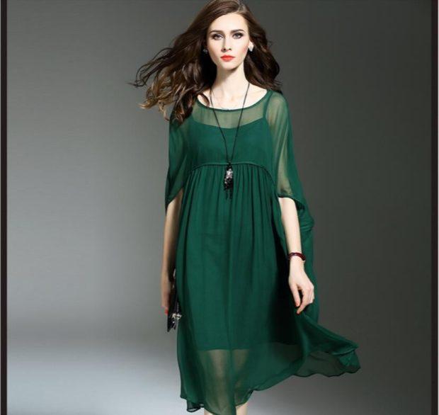 модные цвета лето 2019: платье темно зеленое шифоновое