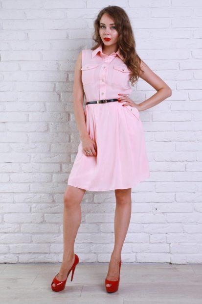 модные цвета лета 2019: платье рубашка розовое