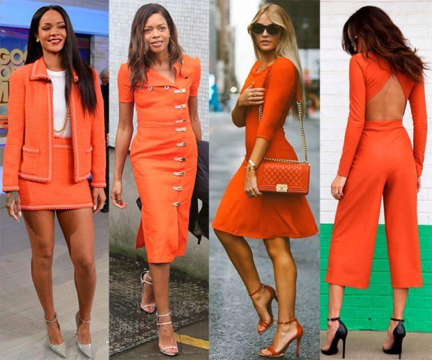 модные цвета лета 2019: оранжевый оттенок юбки платья штаны
