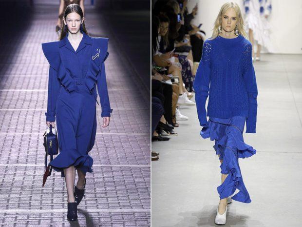 модные цвета лето 2019: синие оттенки платье юбка кофта