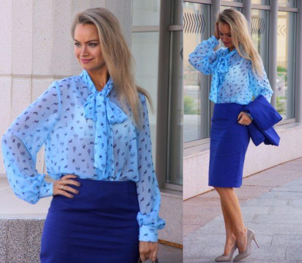 модные цвета лето 2019: синяя юбка голубая рубашка
