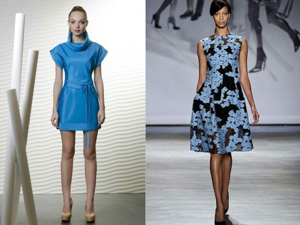 модные цвета лето 2019: синее платье короткое