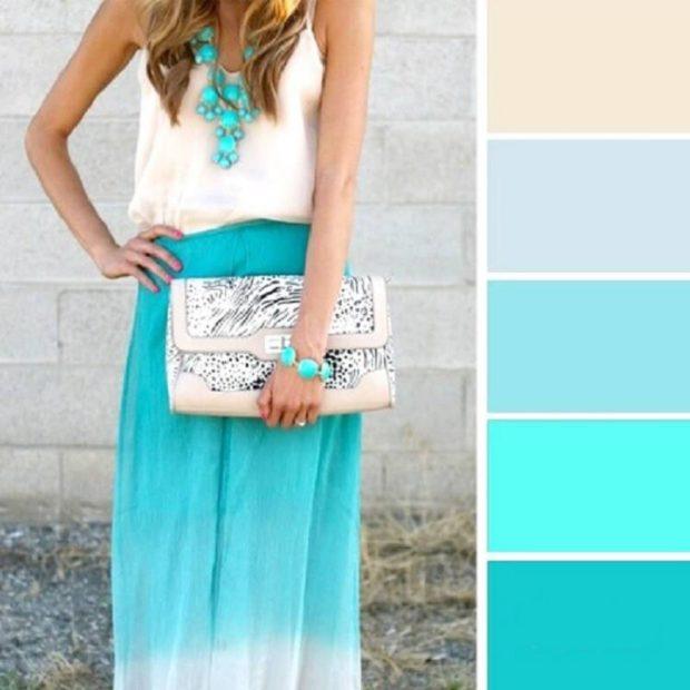 модные цвета лето 2019: юбка голубая