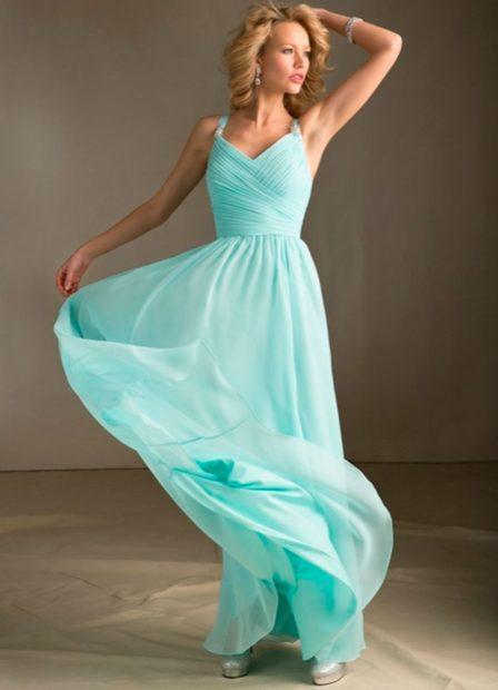 модные цвета лето 2019: бирюзовое платье шифон