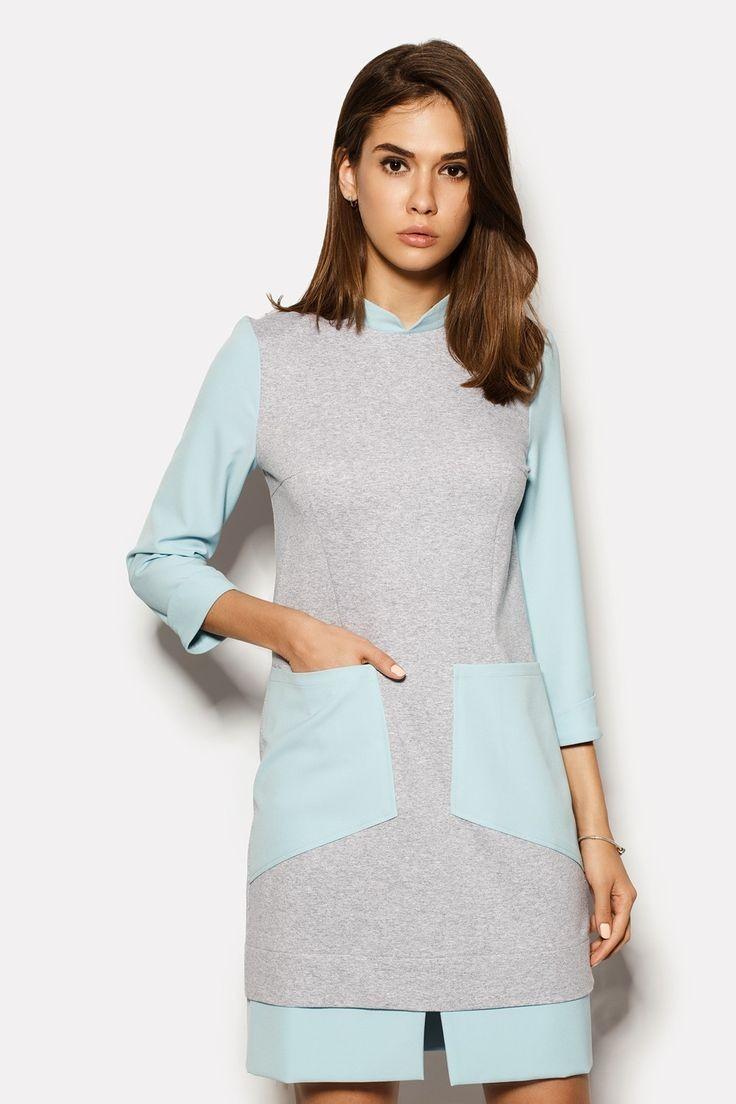 модные цвета лето 2019: серо-бирюзовое платье