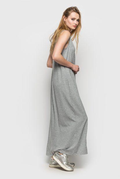 модные цвета лето 2019: платье серое в пол