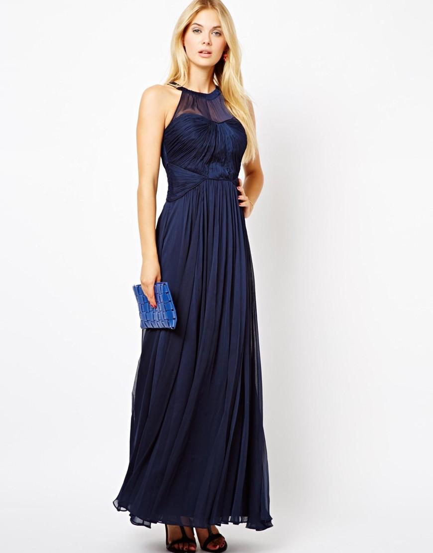 модные цвета лето 2019: платье темно синее шифоновое