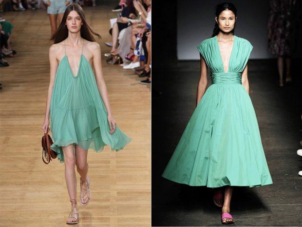 модные цвета лето 2019: бирюзовый оттенок платья