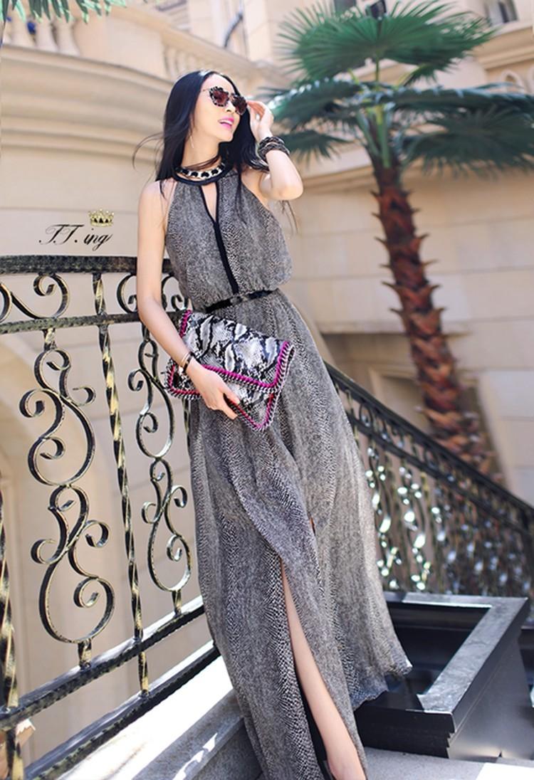 модные цвета лето 2019: платье серое длинное шифон