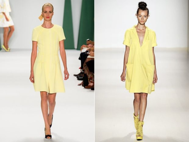 модные цвета лето 2019: платье желтое короткое приглушенный свет