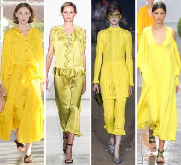модные цвета лето 2019: наряды желтые платье костюмы