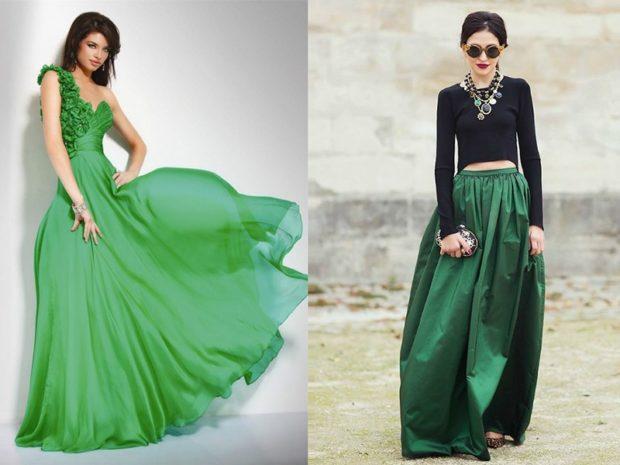 модные цвета лето 2019: зеленое платье юбка зеленая
