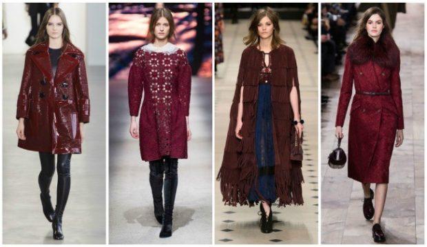 модные цвета осень 2019: бордовые куртки плащи