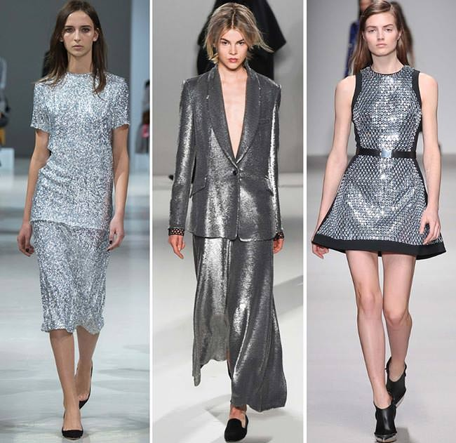 модные цвета осень 2019: металлика юбки кофты