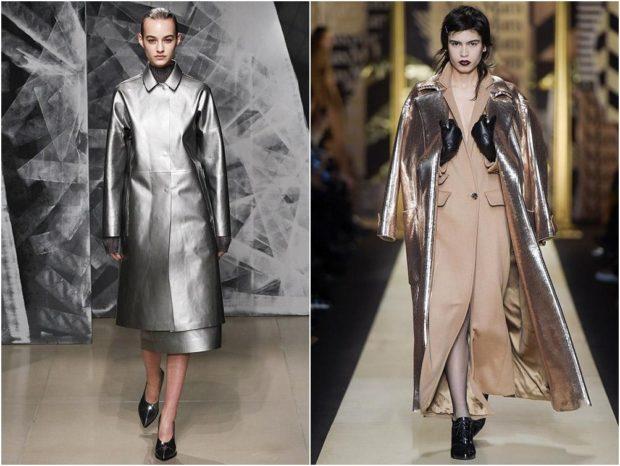 модные цвета осень 2019: серебристый плащ