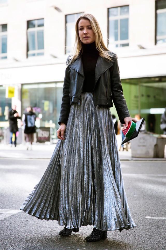 модные цвета осень 2019: юбка серебристая