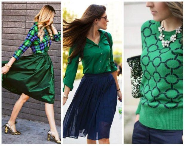 модные цвета осень 2019: зеленые с синим юбки кофты рубашки