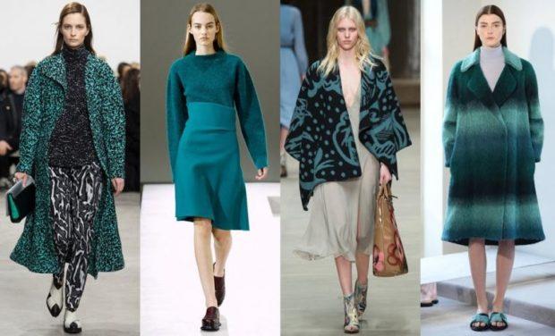 модные цвета осень 2019: изумрудные шубы пальто юбки кофты