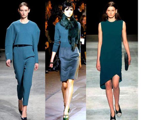 модные цвета осени 2019: сине-зеленый костюмы с брюками с юбками