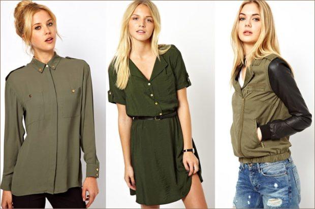 модные цвета осень 2019: рубашка зеленая платье рубашка кртка