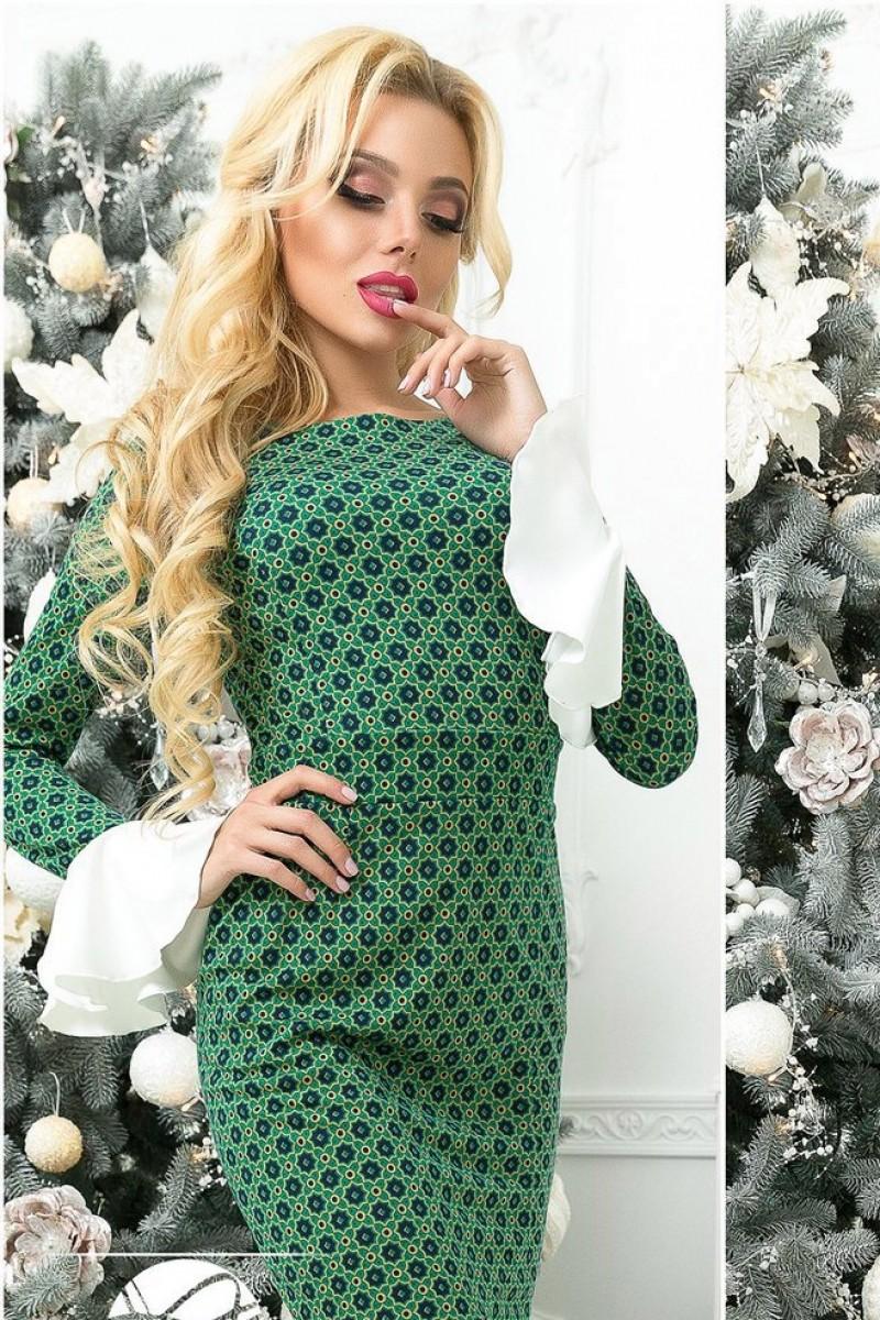 модные цвета осень 2019: платье зеленое длинный рукав