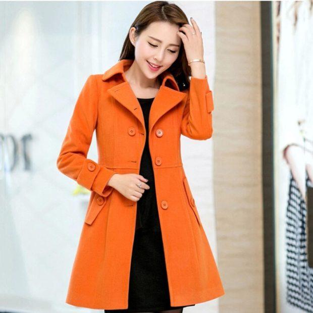 модная осень 2019: пальто оранжевое