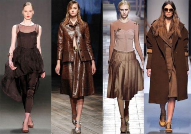 модная осень 2019: платья коричневые миди пальто пиджак юбка