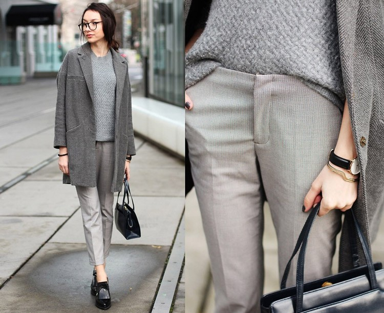 модные цвета 2019: серые брюки кофта пальто