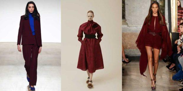 модные цвета осень 2019: бордовые брюки юбка платья