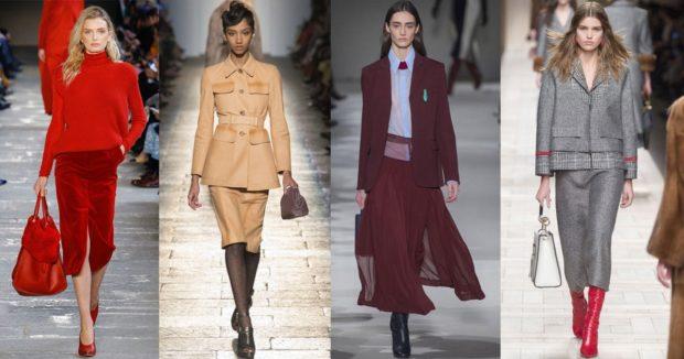 модные цвета осень 2019: красный костюм бежевый бордовый серый