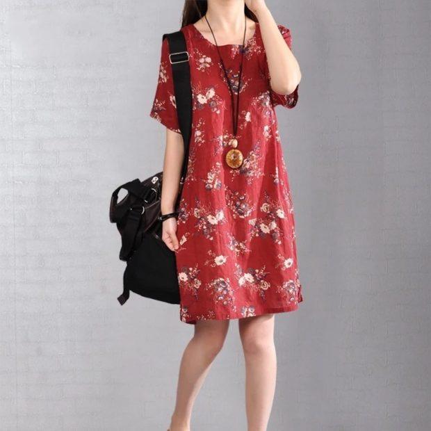 модные цвета осень 2019: красное платье выше колена