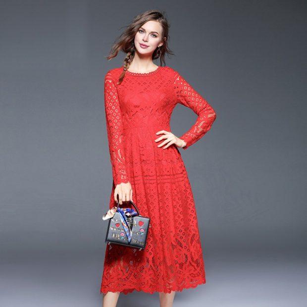 модные цвета осень 2019: красное платье миди
