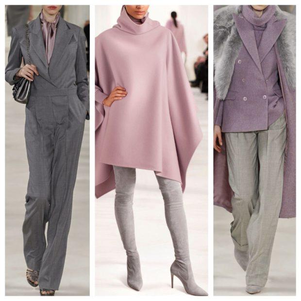 модные цвета весна 2018: иловый костюм пончо пиджак